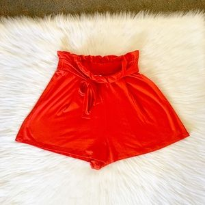 NWT ASOS Red Tie Waist Shorts